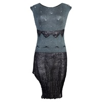 Claire Andrew Silk And Linen Knit Dress Green Black