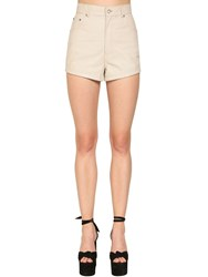 Saint Laurent High Waist Leather Shorts White