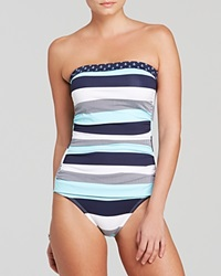 Tommy Bahama Bold Stripe And Mini Anchor Shirred Bandeau One Piece Swimsuit