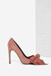 Nasty Gal Grandame Suede Bow Pump Dusty Rose