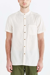 Koto Short Sleeve Mandarin Collar Button Down Shirt White