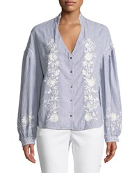 Philosophy Floral Embroidery Pinstripe Button Down Blouse Blue White