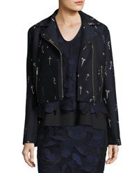 Grey By Jason Wu Embroidered Jacquard Moto Jacket Blue