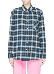 Adaptation X Dogtown Logo Embroidered Check Plaid Flannel Shirt Multi Colour