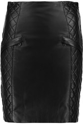 Balmain Quilted And Smooth Leather Mini Skirt Black