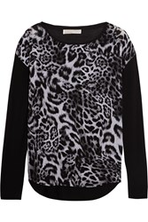 Michael Michael Kors Fremont Leopard Print Chiffon And Jersey Top Black