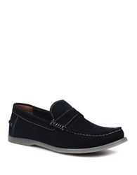 Bass Keane Suede Penny Loafers Navy