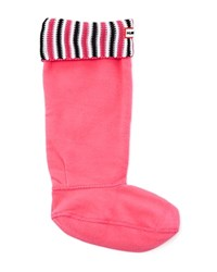 Hunter Deck Stripe Socks Bright Cerise Black White