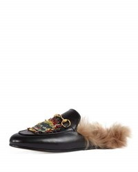 Gucci Princetown Embellished Fur Lined Mule Black