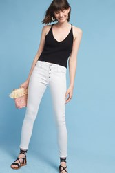 Anthropologie Ag Farrah High Rise Button Up Skinny Jeans White