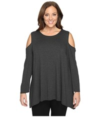 Vince Camuto Plus Size Long Sleeve Cold Shoulder Top Dark Heather Grey Women's Clothing Gray