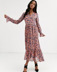 Y.A.S Floral Maxi Dress With Gather Detail Beige
