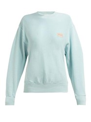 Aries Logo Print Cotton Sweatshirt Light Blue