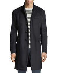 Emporio Armani Single Breasted Wool Top Coat Navy