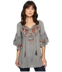 Scully Docia Embroidered Top Charcoal Clothing Gray