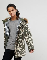 Analog Frazier Ski Parka Jacket Insulated Hooded Detachable Faux Fur Trim In Green Camo Forest Noodle Camo