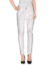 Pinko Grey Denim Denim Trousers Women White