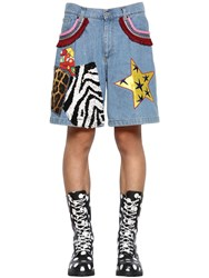 Moschino Cotton Denim Shorts W Patches Blue