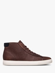 Clae Bradley Tumbled Leather High Top Trainers Cocoa