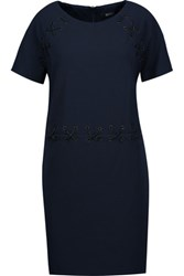 Badgley Mischka Eyelet Embellished Jersey Mini Dress Midnight Blue