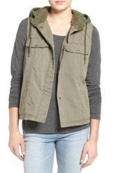 Volcom No Promises Faux Fur Lined Hooded Vest Green