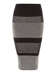 Linea Stripe Knitted Skirt Grey