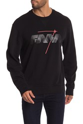 7 For All Mankind Mind Made Reverse Crew Neck Pullover Black