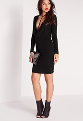Missguided Jersey Cowl Neck Bodycon Dress Black Black