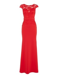 Jessica Wright Cap Sleeve Lace Maxi Dress Red