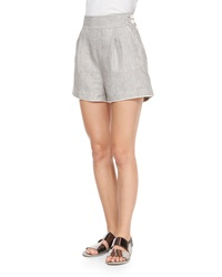 Band Of Outsiders High Waist Linen Delave Shorts