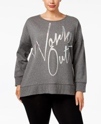 Material Girl Active Plus Size Work Out Sweatshirt Only At Macy's Charcoal Heather