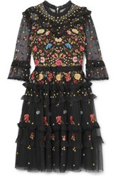 Needle And Thread Pandora Ruffled Embroidered Tulle Dress Black