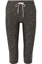 The Upside Army Cropped Leopard Print Stretch Leggings Leopard Print