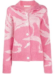 Tory Burch Wool Knitted Cardigan Pink