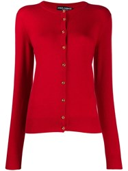 Dolce And Gabbana Logo Button Up Cardigan Red
