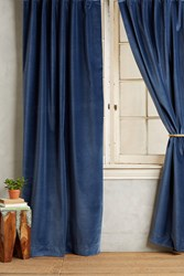 Anthropologie Matte Velvet Curtain Navy