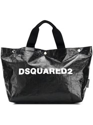 Dsquared2 Logo Printed Tote Bag Small Black