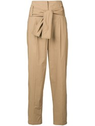 Dorothee Schumacher Tie Detail High Waisted Trousers Brown
