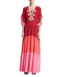 Peter Pilotto Bouquet Embroidered Colorblock Maxi Dress Pink