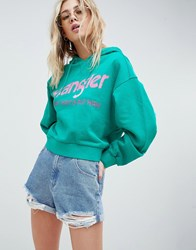 Wrangler Cropped Hoody With Logo Spectra Green