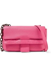 Tomas Maier Paneled Embossed And Textured Leather Shoulder Bag Pink