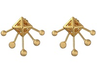 Rebecca Minkoff Pyramid Fan Stud Earrings Gold Toned Earring