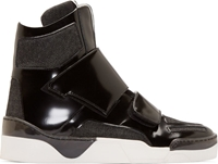 Giuliano Fujiwara Black Leather And Denim High Top Sneakers