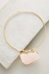 Anthropologie Rose Quartz Pendant Choker Gold