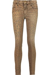 Current Elliott The Highwaist Stiletto High Rise Leopard Print Skinny Jeans Camel