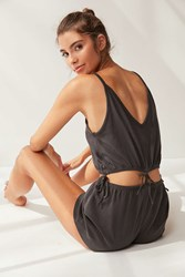 Out From Under Chelsea Tie Romper Washed Black