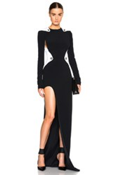 Thierry Mugler Mugler Bi Color Fitted Cady Gown In Black