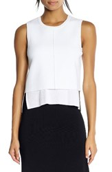 Kendall Kylie Women's Layered Split Back Tank Bright White