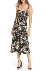 Love Fire Women's Print Wide Leg Jumpsuit Black Floral