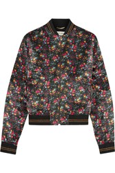 Saint Laurent Floral Print Satin Bomber Jacket Black